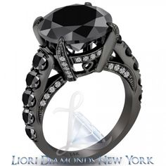 7.05 Carat Certified Natural Black Diamond Engagement Ring 14k Black Gold - Black Diamond Engagement Rings - Engagement - Lioridiamonds.com