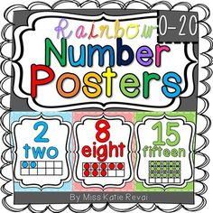 This set includes numbers 0-20. Each poster features a number, number word, and…