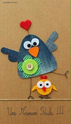 Une maman poule jeans recycle www toutpetitrien ch fleurysylvie Jean Crafts, Denim Crafts, Diy And Crafts, Crafts For Kids, Arts And Crafts, Applique Patterns, Applique Designs, Artisanats Denim, Craft Projects
