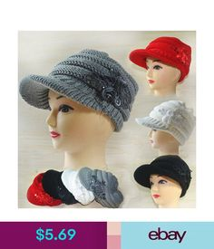 6ee0d9f9ea7 Womens Fashion Knitted Autumn Winter Visor Warm Hat Peaked Cap Beanie w  Flower