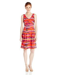 d884ec44ee61 Anne Klein Women's Petite Printed Cotton Double V Fit and Flare Dress,  Fuchsia Combo,