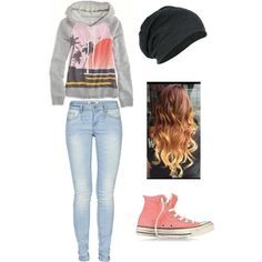 Cute school outfit 1(: With different shoes, preferably with a pair of black vans or maybe even vans the same color as those converse.
