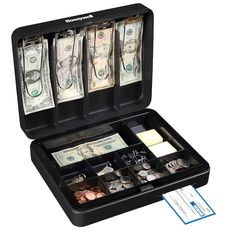 The Honeywell® cash box is a secure and safe way to keep money safe when locked. With multiple dividers and compartments, it is easy to keep everything organized and in its correct space. Cash Box, Savings Plan, Savings Box, Idee Diy, Key Lock, Baby Steps, Yard Sale, Cool Things To Buy, Stuff To Buy