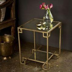 Steel cubist brass side table.