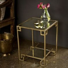 Steel Cubist Brass Side Table (India)   $171.99