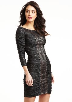 FERIANI Ruched Lace Detail Dress