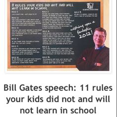 Bill Gates speech: 11 rules your kids did not and will not learn in school