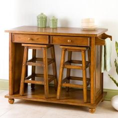 This island with stow-away stools would be great for the kitchen, or even in a home office workspace. I'd put mine on locking casters to give it portability.