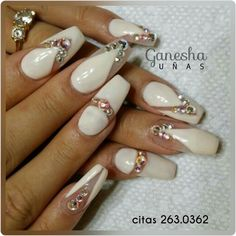 Swarovsky bridal nails