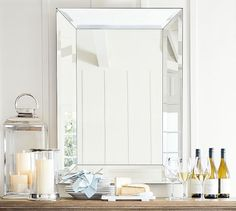 Bevel Rectangular Mirrors ~ Framed with wide beveled edges, this all-glass mirror adds depth and dimension to a bedroom or an entryway. It's available in two sizes. Beveled Glass, Home Furniture, Outdoor Furniture, New Homes, Vanity Mirrors, Beveled Mirror Bathroom, Beveled Edge Mirror, Master Bathroom, Master Baths
