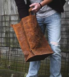 Waxed Canvas Reusable Market Bag with Handles