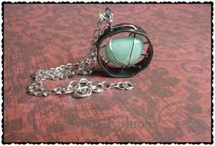 Caged Aventurine Necklace  Earthy Necklace  by ScorpioFashions