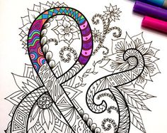 8.5x11 PDF coloring page of the uppercase letter G - inspired by the font Harrington  Fun for all ages.  Relieve stress, or just relax and have fun using your favorite colored pencils, pens, watercolors, paint, pastels, or crayons.  Print on card-stock paper or other thick paper (recommended).  Original art by Devyn Brewer (DJPenscript).  For personal use only. Please do not reproduce or sell this item.  HOW TO DOWNLOAD YOUR DIGITAL FILES: https://www.etsy.com/help/article...