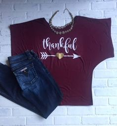 Thankful T-shirt, Burgundy Drapey fit dolman sleeve shirt, The PERFECT, most flattering T-shirt, Effortlesly cool, relaxed flowy fit. by TheClassyCoop on Etsy