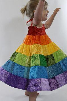 Modèle : robe d'été arc-en-ciel - 1-6 ans