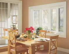 The different types of windows that are often found in a house include sliding windows. Sliding windows are windows constructed in a frame and installed slide open and closed. Feng Shui Dining Table, Dinning Table, Sliding Windows, Bow Windows, Dining Room Windows, Wood Front Doors, French Doors Patio, Asian Home Decor, Dining Room Furniture