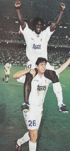 Clarence Seedorf y Victor Sánchez en el Real Madrid Campeón de 1997.