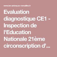Evaluation diagnostique CE1 - Inspection de l'Education Nationale 21ème circonscription d'Antony