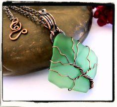 Green sea glass tree of life pendant www.fashionwire.net