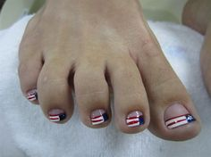 Nail art from the NAILS Magazine Nail Art Gallery, hand-painted, Love Nails, Pretty Nails, Fun Nails, Spring Nails, Summer Nails, Summer Pedicures, 4th Of July Nails, July 4th, Manicure And Pedicure