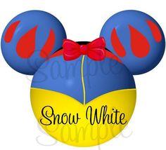 Princess Snow White inspired character personalized printable digital Mickey Head file DIY via Etsy.  Pretty!