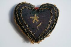 Another sweet original that can be duplicated with techniques in Fanciful Utility! Heart shaped pin cushion with hand embroidery. My Funny Valentine, Valentines, Needle Book, Needle And Thread, Vintage Sewing Notions, Fabric Hearts, Sewing Baskets, Sewing Accessories, Textiles