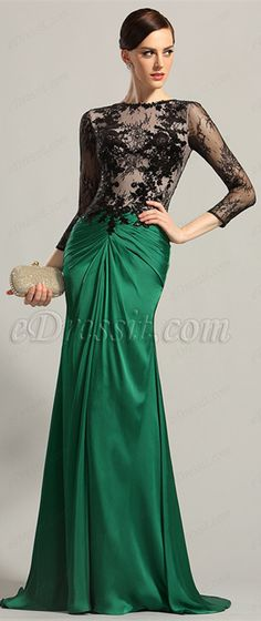 Sexy lace bodice, draped skirt!  price: $209.99 Global shipping! #edressit #eveningdress #formaldress #fashion