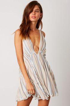 Blue Stripe Swing Dress Winter Fashion Outfits aab71126b