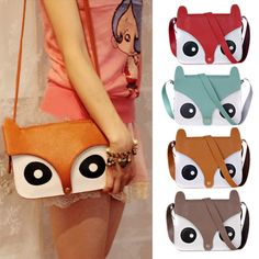 """This funky handbag, made of PU leather, features four different color varieties for the owl motif that decorates it! Get it in red, orange, brown, or blue and spice up your wardrobe today! HEIGHT: 6"""" (16cm) LENGTH: 9"""" (23cm) WIDTH: 2"""" (5cm) STRAP: 48"""" (122cm)"""