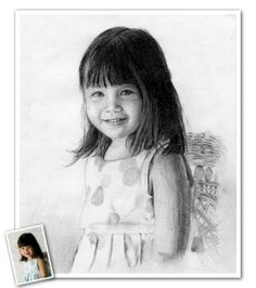 Hand Drawn Pencil Sketch from Photos--Just send us a photo of your adorable little one, and we'll take care of the rest. Beautiful Pencil Sketches, Cool Sketches, Pencil Sketch Portrait, Pencil Drawings, Sketch Paper, Portraits From Photos, Charcoal Drawing, Hand Drawn, How To Draw Hands