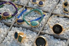 Our jewelry are made of gold plated brass with semi-precious stones