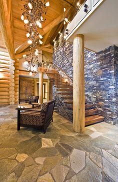 OKANAGAN LOG HOME - modern - entry - other metros - Sticks and Stones Design Group inc.  LIGHT FIXTURE
