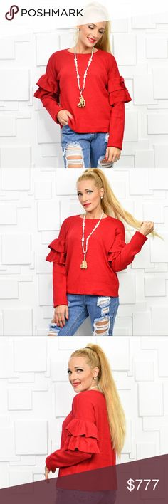 "VIBRANT RED SWEATER WITH RUFFLE DETAIL! BOUTIQUE ITEM BUNDLE TO SAVE                                         ""WHEN IN DOUBT WEAR RED""   Gorgeous Red sweater featuring adorable ruffle detail on the sleeves! Super comfy and warm. Can be worn casual or dressed up!  S: BUST 21""across/ LENGTH 22"" M: BUST 22' across/LENGTH 23'' L: BUST 23'' across/ LENGTH 24'' hand measurements are approx material 60%viscose 25%polyester 15%nylon **WINTER FALL COZY WARM RED HOLIDAY PARTY VALENTINE ANNIVERSARY LADY…"