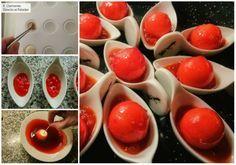 Bombón de manchego, anchoa y pimiento rojo con cobertura de Oporto. Receta de navidad Finger Foods, Pudding, Vegetables, Fruit, Desserts, Recipes, Girly Girl, Appetizer Recipes, Beverage
