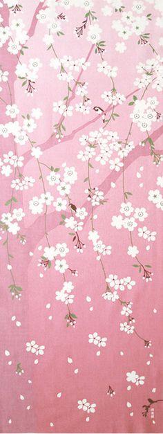 Japanische Tenugui Handtuch Baumwollgewebe. Kirschblüten + Vogel-Design…