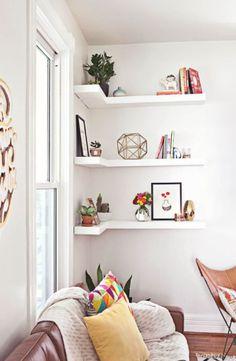 white minamilistic shelves