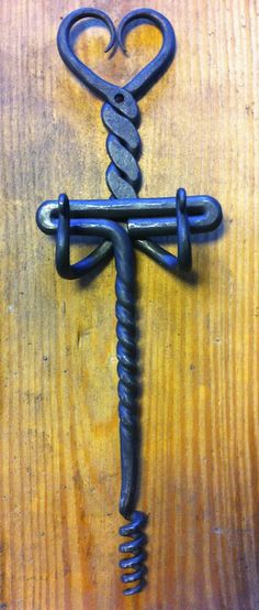 More love for february! Forged wine corkscrew with heart holder...