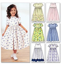 Basic Timeless Classic Dress Pattern this has a slightly raised bodice, you can lengthen a bit for natural waist line, dirndl skirt the neckline fits well, has 6 versions, made it in a navy small white polka dot with white collar it is really cute. White dupioni silk fabric, underlining and lining the bodice for Communion dresses. Have used the pattern several times. Great Holiday or Party Dress.