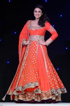 Parineeti Chopra walking for Manish Malhotra. Gorgeous design heavy with embroidery, who wouldn't want to get married in this?