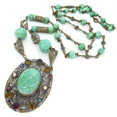 Vintage Art Deco Czech Peking Glass Ornate Filigree Drop Necklace | Clarice Jewellery | Vintage Costume Jewellery