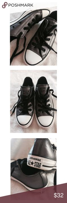Converse Leather Sneakers This pair of Converse All Star Leather Sneakers are in excellent condition and a size 6. They are gray leather uppers. Converse Shoes Sneakers