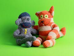 sock monkey & sock cat: a totally unrealistic friendship.