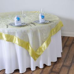 """60""""x60"""" Yellow Satin Edge Embroidered Sheer Organza Square Table Overlay Rainbow Wedding Decorations, Rainbow Wedding Dress, Table Overlays, Floral Tablecloth, Colourful Balloons, Yellow Wedding, Square Tables, Table Linens, Wedding Table"""