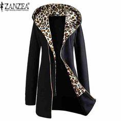 Plus Size M-XXL 2016 Autumn Winter Fashion Womens Leopard Printed Zipper Up Hooded Coat Jacket Long Sleeve Outwear Sweatshirts