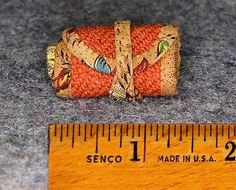 "Sewing Roll Up Pincushion Miniature Antique Doll Handmade Early Needle Case | eBay; wool outside, cotton trim & interior, 6? tiny pockets; 1.25"" wide, 4.5"" long, when rolled up 1.25"" x 2.5"""