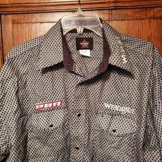 2328d416 Wrangler PBR Pearl Snap Professional Bull Riders Geometric Western Shirt XL  #Wrangler #Western Smart