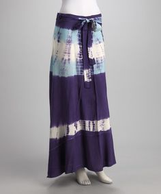 Take a look at this Blue Tie-Dye Wrap Skirt by Great Lengths: Womens Apparel on @zulily today!