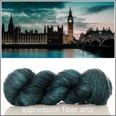 Expression Fiber Arts, Inc. - LONDON AT NIGHT SUPERWASH MERINO SILK PEARLESCENT WORSTED yarn - deep, blackened spruce green/teal