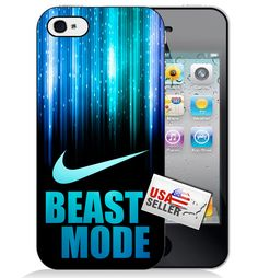 Nike Cool Blue 'Beast Mode' Swoosh Hard Plastic Phone Case for iPhone 6 or 5/5s