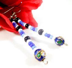 Cloisonne dangling earrings Calming royal blue jewelry Black blue & white jewellery Dangling jewelry (10.00 USD) by EnchantedRoseShop